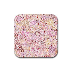 Ornamental pattern with hearts and flowers  Rubber Square Coaster (4 pack)
