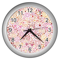 Ornamental Pattern With Hearts And Flowers  Wall Clocks (silver)