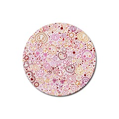 Ornamental Pattern With Hearts And Flowers  Rubber Round Coaster (4 Pack)