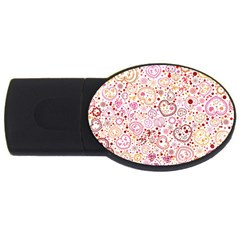 Ornamental pattern with hearts and flowers  USB Flash Drive Oval (1 GB)