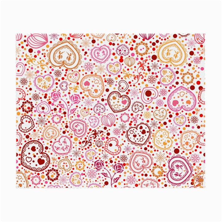 Ornamental pattern with hearts and flowers  Small Glasses Cloth