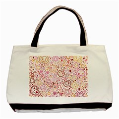 Ornamental Pattern With Hearts And Flowers  Basic Tote Bag