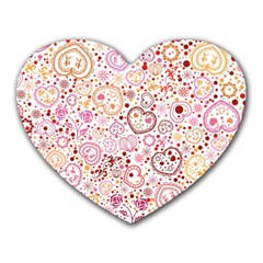 Ornamental Pattern With Hearts And Flowers  Heart Mousepads