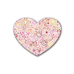 Ornamental pattern with hearts and flowers  Heart Coaster (4 pack)