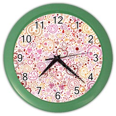 Ornamental Pattern With Hearts And Flowers  Color Wall Clocks