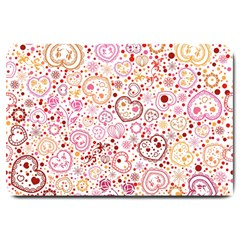Ornamental Pattern With Hearts And Flowers  Large Doormat