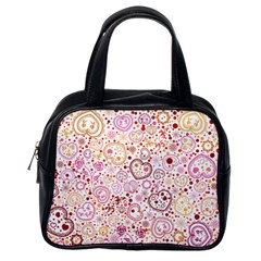 Ornamental Pattern With Hearts And Flowers  Classic Handbags (one Side)