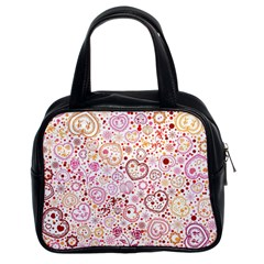 Ornamental Pattern With Hearts And Flowers  Classic Handbags (2 Sides)