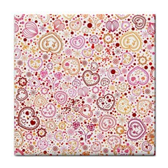 Ornamental Pattern With Hearts And Flowers  Face Towel
