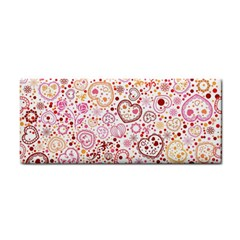 Ornamental Pattern With Hearts And Flowers  Hand Towel