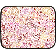 Ornamental Pattern With Hearts And Flowers  Double Sided Fleece Blanket (mini)