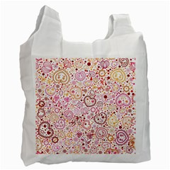 Ornamental Pattern With Hearts And Flowers  Recycle Bag (two Side)