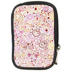 Ornamental pattern with hearts and flowers  Compact Camera Cases