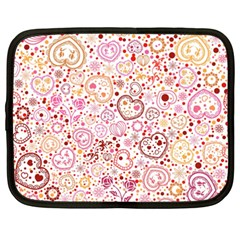 Ornamental Pattern With Hearts And Flowers  Netbook Case (xxl)