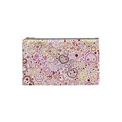 Ornamental Pattern With Hearts And Flowers  Cosmetic Bag (small)