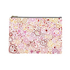 Ornamental Pattern With Hearts And Flowers  Cosmetic Bag (large)