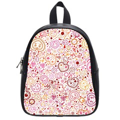 Ornamental pattern with hearts and flowers  School Bags (Small)
