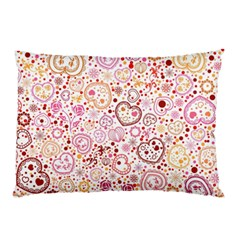 Ornamental Pattern With Hearts And Flowers  Pillow Case (two Sides)