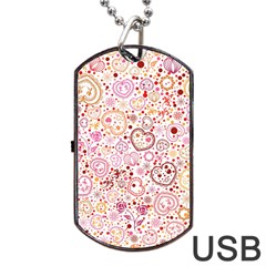 Ornamental Pattern With Hearts And Flowers  Dog Tag Usb Flash (two Sides)
