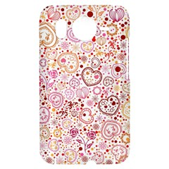 Ornamental pattern with hearts and flowers  HTC Desire HD Hardshell Case