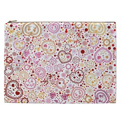 Ornamental pattern with hearts and flowers  Cosmetic Bag (XXL)