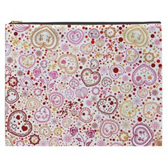 Ornamental pattern with hearts and flowers  Cosmetic Bag (XXXL)