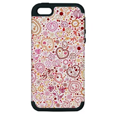 Ornamental pattern with hearts and flowers  Apple iPhone 5 Hardshell Case (PC+Silicone)