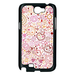 Ornamental pattern with hearts and flowers  Samsung Galaxy Note 2 Case (Black)