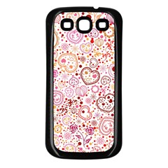 Ornamental Pattern With Hearts And Flowers  Samsung Galaxy S3 Back Case (black)