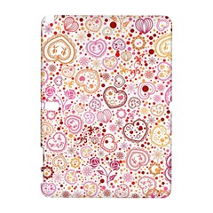 Ornamental Pattern With Hearts And Flowers  Samsung Galaxy Note 10 1 (p600) Hardshell Case