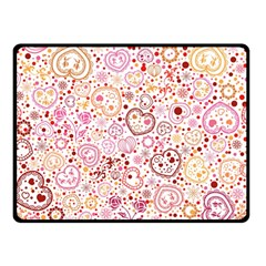 Ornamental pattern with hearts and flowers  Double Sided Fleece Blanket (Small)