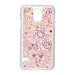 Ornamental pattern with hearts and flowers  Samsung Galaxy S5 Case (White)