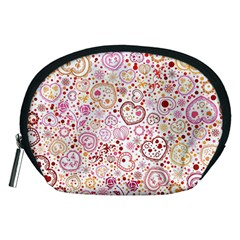 Ornamental pattern with hearts and flowers  Accessory Pouches (Medium)
