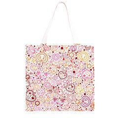 Ornamental pattern with hearts and flowers  Grocery Light Tote Bag