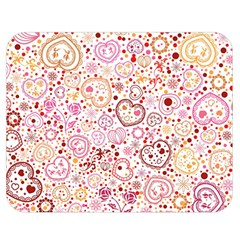 Ornamental Pattern With Hearts And Flowers  Double Sided Flano Blanket (medium)