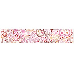 Ornamental pattern with hearts and flowers  Flano Scarf (Large)