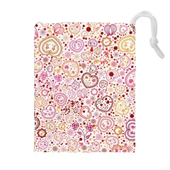 Ornamental Pattern With Hearts And Flowers  Drawstring Pouches (extra Large)