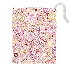Ornamental Pattern With Hearts And Flowers  Drawstring Pouches (xxl)