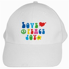 Love Peace Joy White Cap