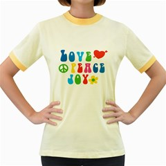 Love Peace Joy Women s Fitted Ringer T-Shirts