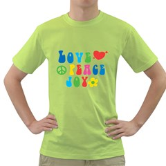 Love Peace Joy Green T Shirt