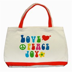 Love Peace Joy Classic Tote Bag (red)