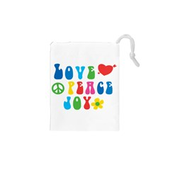 Love Peace Joy Drawstring Pouches (XS)