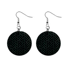 Brick2 Black Marble & Green Marble 1  Button Earrings