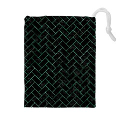 Brick2 Black Marble & Green Marble Drawstring Pouch (xl)