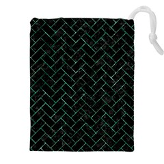 Brick2 Black Marble & Green Marble Drawstring Pouch (xxl)