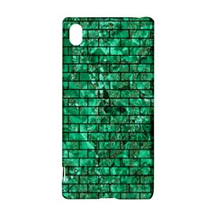 Brick1 Black Marble & Green Marble (r) Sony Xperia Z3+ Hardshell Case