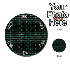 Brick1 Black Marble & Green Marble Playing Cards 54 (round)