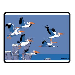 Abstract Pelicans Seascape Tropical Pop Art Double Sided Fleece Blanket (small)