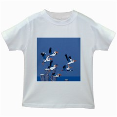 Abstract Pelicans Seascape Tropical Pop Art Kids White T Shirts